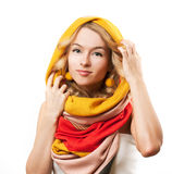 Blonde Woman in Yellow Hood. Isolated on White. Royalty Free Stock Photography