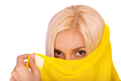 Blonde woman with yellow paranja. Isolated on white background Royalty Free Stock Photo