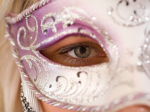 Blonde women with carnival mask Royalty Free Stock Photo