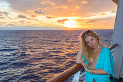 Blonde women in the cruise Stock Photos