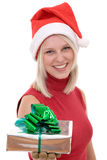 Blonde women and a gift box Royalty Free Stock Images