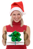 Blonde women and a gift box Stock Photography