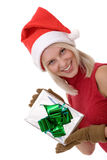 Blonde women and a gift box Royalty Free Stock Photos