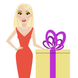 Blonde women and gift box Stock Photography
