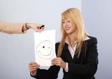 Blonde women recieve the good mood Royalty Free Stock Image