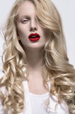 Blonde women with red lips Royalty Free Stock Photos