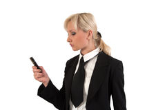 Blonde with mobile. Stock Photos