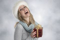 Blonde with xmas gift Royalty Free Stock Image