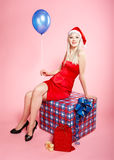 Blonde xmas girl Stock Photography