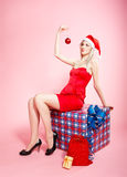 Blonde xmas girl Royalty Free Stock Images
