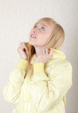 Blonde in the yellow jacket Royalty Free Stock Photography