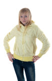Blonde in the yellow jacket Stock Image