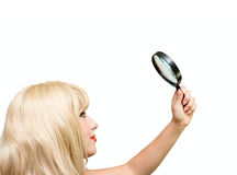 Blonde young girl with glass stock images