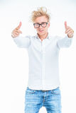 Blonde young man pointing to the camera. Royalty Free Stock Image