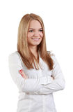 Blonde young woman. Portrait of a blonde young woman isolated against  a white background Royalty Free Stock Photography