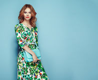 Free Blonde Young Woman In Floral Spring Summer Dress Royalty Free Stock Photos - 94515278