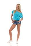 Blonde zufällige junge Frau Lizenzfreie Stockbilder