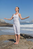 Blonde zufriedene Frau, die auf Strand auf Felsen mit den Armen heraus steht Lizenzfreie Stockfotos