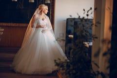 Blondebruid met haar bruidegom stock foto's