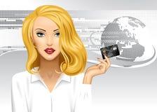 Blondemeisje die een creditcard op digitale abstracte achtergrond houden stock illustratie
