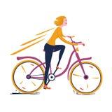 Blondemeisje die een uitstekende fiets berijden vector illustratie
