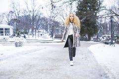 Blondemeisje in het park op een de winterdag Royalty-vrije Stock Fotografie