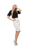 Blondemeisje in zwarte die rok op het wit wordt geïsoleerd Stock Foto's
