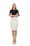 Blondemeisje in zwarte die rok op het wit wordt geïsoleerd Stock Afbeelding