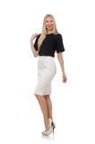 Blondemeisje in zwarte die rok op wit wordt geïsoleerd Royalty-vrije Stock Afbeelding