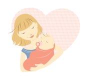 Blondemoeder en baby Stock Foto's