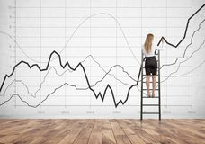 Blondeonderneemster op ladder, grafieken stock fotografie