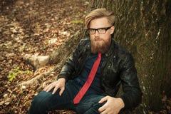 Blonder Bartmodemann, der nahe einem Baum sitzt Stockfotos