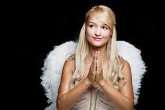 Blonder betender Engel mit Flügeln der weißen Federn Lizenzfreie Stockfotos