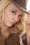 Blonder Cowgirl-genauer Blick Lizenzfreie Stockbilder