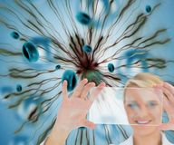 Blonder Doktor, der virtuellen Schirm hält Lizenzfreie Stockfotografie