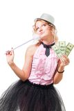Blonder Frau Illusionist mit Dollar Stockbild