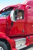 Blonder Frauenlastwagenfahrer Stockfotografie
