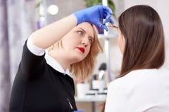Blonder Friseur schnitt Haar für Brunettekunden ab Stockfoto