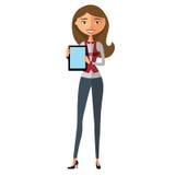 Blonder Geschäftsfraucharakter unter Verwendung der Tablette Junger Banker mit Tablette Vektor Stockfoto