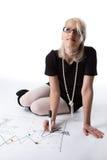 Blonder Geschäftsfrautraum über Reise Stockbilder