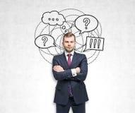 Blonder Geschäftsmann, Fragen und Antworten Lizenzfreie Stockbilder