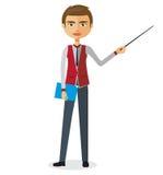 Blonder Geschäftsmann oder Lehrer mit einer flachen Karikaturillustration des Zeigers Stockbilder
