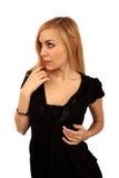 Blonder getrennter Hintergrund des Portraits Lizenzfreie Stockbilder
