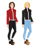 Blonder girl in bomber jacket and jeans. Vector illustration of blonde and brunette girls in bomber jacket, jeans and ankle boot with side elastic gussets on Royalty Free Stock Photos