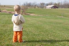 Blonder Junge auf einem Bauernhof Stockfoto