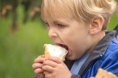 Blonder Junge, der Eiscreme isst Stockfotografie