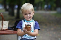Blonder Junge, der mit einem kleinen Spielzeug spielt Stockbild