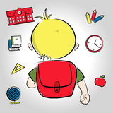 Blonder Junge, der zur Schule geht Stockfotos