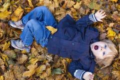 Blonder Junge des Kleinkindes mit blauen Augen legt auf Bett Herbst gefallenen Le Lizenzfreies Stockfoto