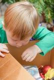 Blonder Junge verziert Weihnachtsbaum Lizenzfreies Stockfoto